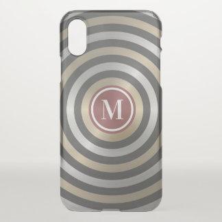 Cool Designer Silver Gold Stripe Pattern Monogram iPhone X Case