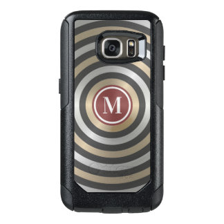 Cool Designer Silver Gold Stripe Pattern Monogram OtterBox Samsung Galaxy S7 Case