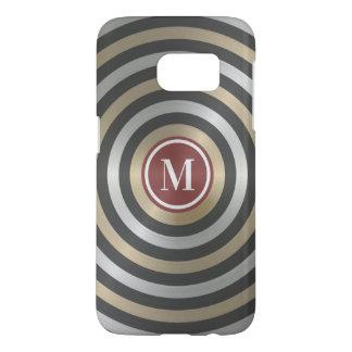 Cool Designer Silver Gold Stripe Pattern Monogram Samsung Galaxy S7 Case