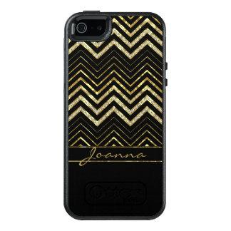 Cool Diamonds And Gold Chevron Pattern OtterBox iPhone 5/5s/SE Case
