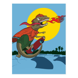 Cool Dinosaur Kid on Skateboard by Rich Patric Postcard