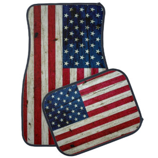 Cool Distressed American Flag Wood Rustic Car Mat