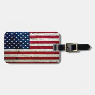 Cool Distressed American Flag Wood Rustic Travel Bag Tag