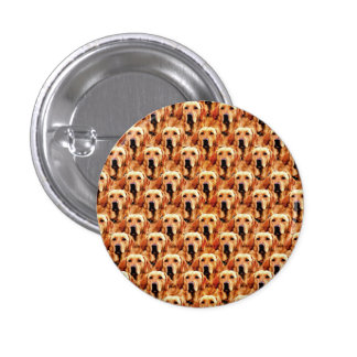 Cool Dog Art Doggie Golden Retriever Abstract 1 Inch Round Button