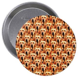 Cool Dog Art Doggie Golden Retriever Abstract 4 Inch Round Button