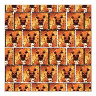 """Cool Dog Art Doggie Noses Abstract Mosaic 5.25"""" Square Invitation Card"""