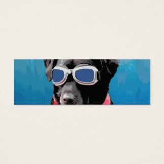 Cool Dog Black Lab Red Bandana Blue Goggles Mini Business Card