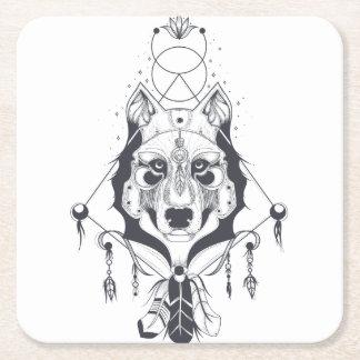 cool dog design art square paper coaster