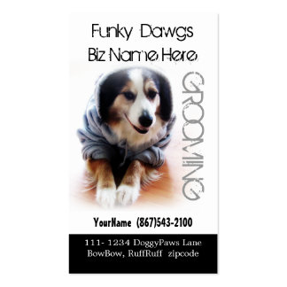 Cool Dog Grooming Aussie in Hoodie Business Cards