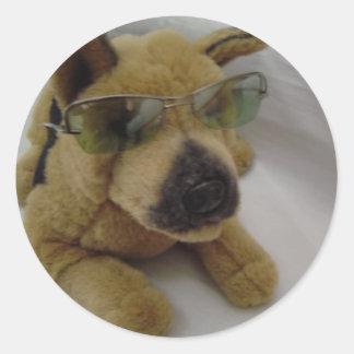Cool Dog in Sunglasses Classic Round Sticker