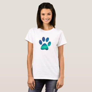 Cool Dog Pawprint, Northern Winter Lights T-Shirt