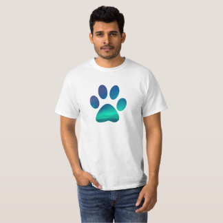 Cool Dog Pawprint, Winter Northern Lights T-Shirt