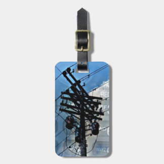 Cool Double Exposure Phone With Power line Luggage Tag