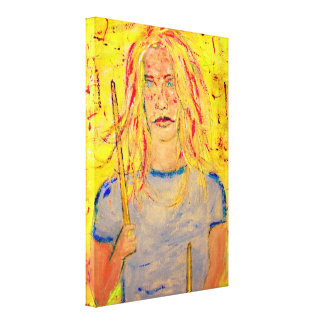 cool drummer girl upclose art gallery wrapped canvas
