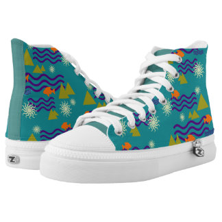 Cool Earth Symbols Pattern on Teal High Tops