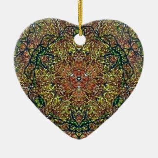 Cool Earthy Fall Colors Mandala Pattern Ceramic Heart Ornament