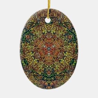 Cool Earthy Fall Colors Mandala Pattern Ceramic Oval Ornament