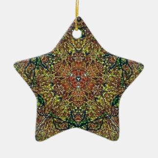 Cool Earthy Fall Colors Mandala Pattern Ceramic Star Ornament
