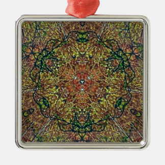 Cool Earthy Fall Colors Mandala Pattern Silver-Colored Square Ornament