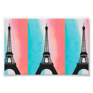 Cool Eiffel Tower Paris colourful background Photo Print