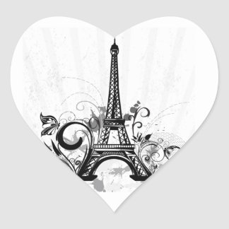Cool Eiffel Tower swirls dots splatters butterfly Heart Sticker