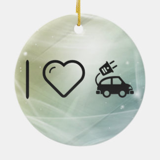 Cool Electric Cars Round Ceramic Ornament