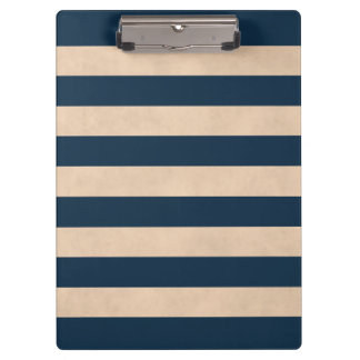 Cool Elegant Girly Rose Dark Blue Striped Clipboard