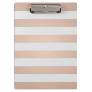 Cool Elegant Girly Rose Light Grey Striped Clipboard