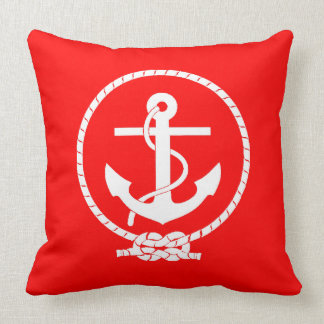 Cool Elegant Nautical Anchor Red Throw Pillow