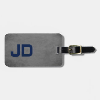 Cool Elegant Texture Grey Blue Monogram Luggage Tag