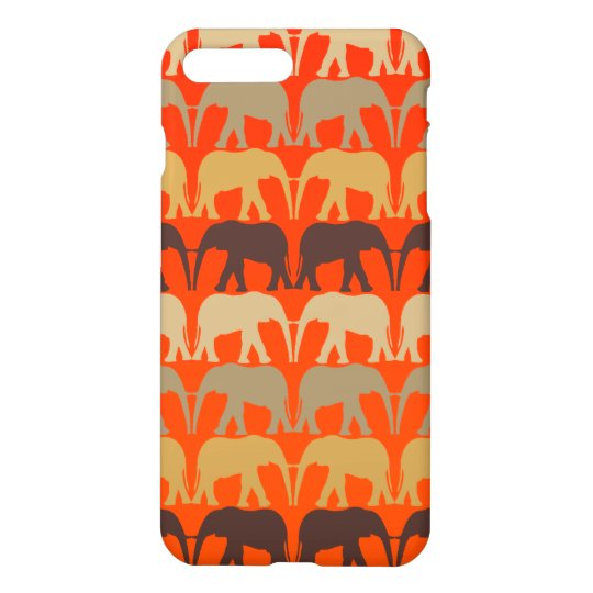 Cool Elephants Pattern On Sunset Orange iPhone 7 Plus Case