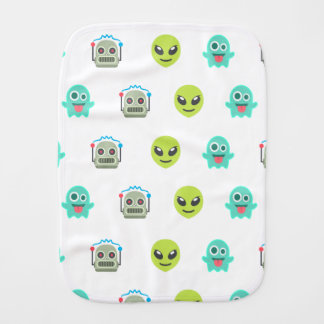 Cool Emoji Alien Ghost Robot Face Pattern Baby Burp Cloth
