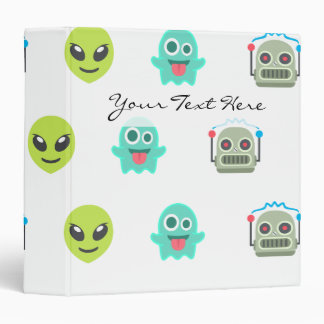 Cool Emoji Alien Ghost Robot Face Pattern Binder