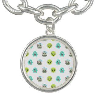 Cool Emoji Alien Ghost Robot Face Pattern Bracelet