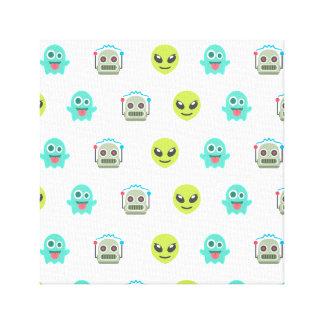 Cool Emoji Alien Ghost Robot Face Pattern Canvas Print