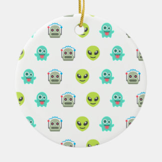 Cool Emoji Alien Ghost Robot Face Pattern Ceramic Ornament