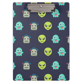 Cool Emoji Alien Ghost Robot Face Pattern Clipboard