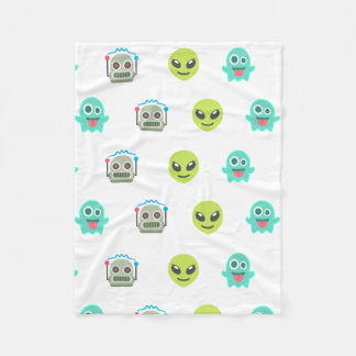 Cool Emoji Alien Ghost Robot Face Pattern Fleece Blanket