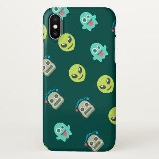 Cool Emoji Alien Ghost Robot Face Pattern iPhone X Case