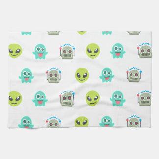 Cool Emoji Alien Ghost Robot Face Pattern Kitchen Towel