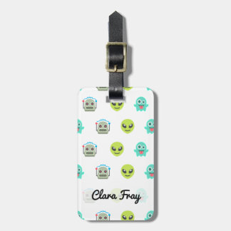 Cool Emoji Alien Ghost Robot Face Pattern Luggage Tag