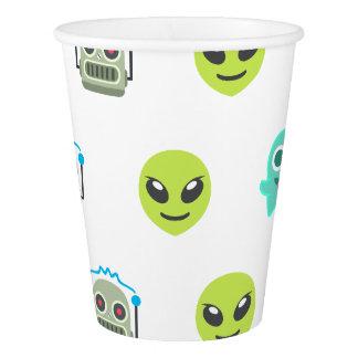 Cool Emoji Alien Ghost Robot Face Pattern Paper Cup