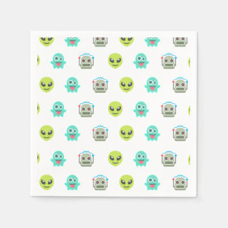 Cool Emoji Alien Ghost Robot Face Pattern Paper Napkin