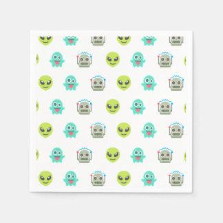 Cool Emoji Alien Ghost Robot Face Pattern Paper Napkins