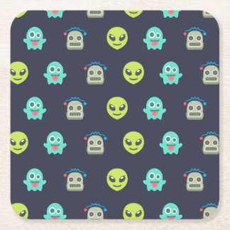 Cool Emoji Alien Ghost Robot Face Pattern Square Paper Coaster