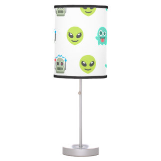 Cool Emoji Alien Ghost Robot Face Pattern Table Lamp