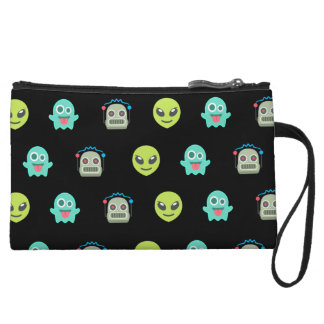 Cool Emoji Alien Ghost Robot Face Pattern Wristlet Purses