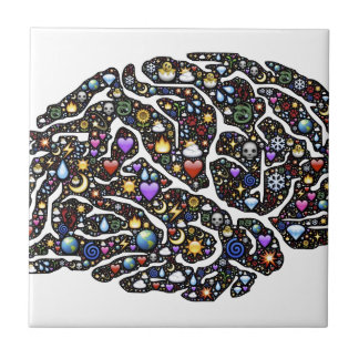 Cool Emoji Brain Pattern Design Tile
