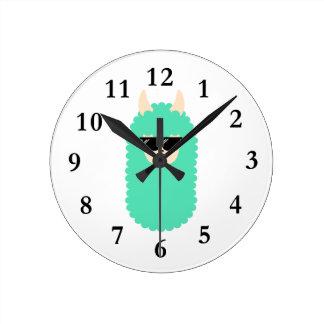 Cool Emoji Llama Round Clock