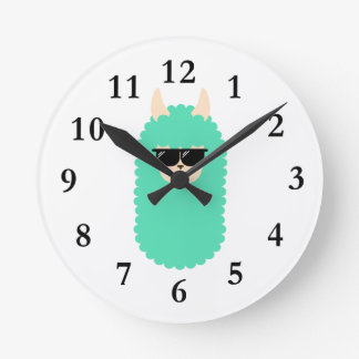 Cool Emoji Llama Wall Clocks